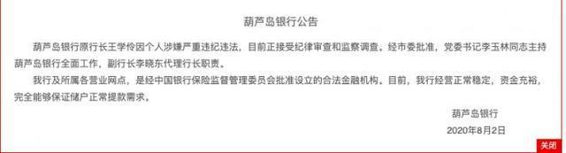 辽宁葫芦岛银行原行长被查 官方称银行资金充裕储户不必盲目取款